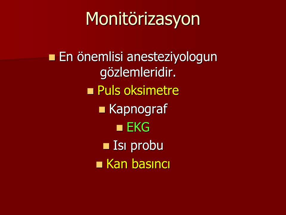 Monitörizasyon En önemlisi anesteziyologun gözlemleridir. En önemlisi anesteziyologun gözlemleridir. Puls oksimetre Puls oksimetre Kapnograf Kapnograf
