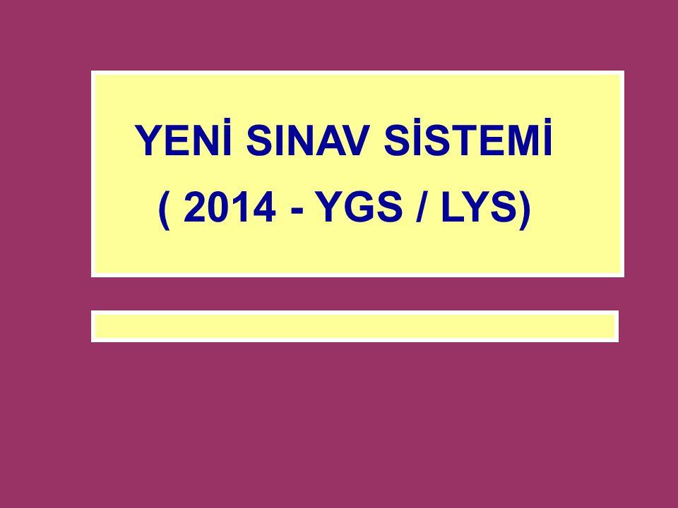 YENİ SINAV SİSTEMİ ( 2014 - YGS / LYS)