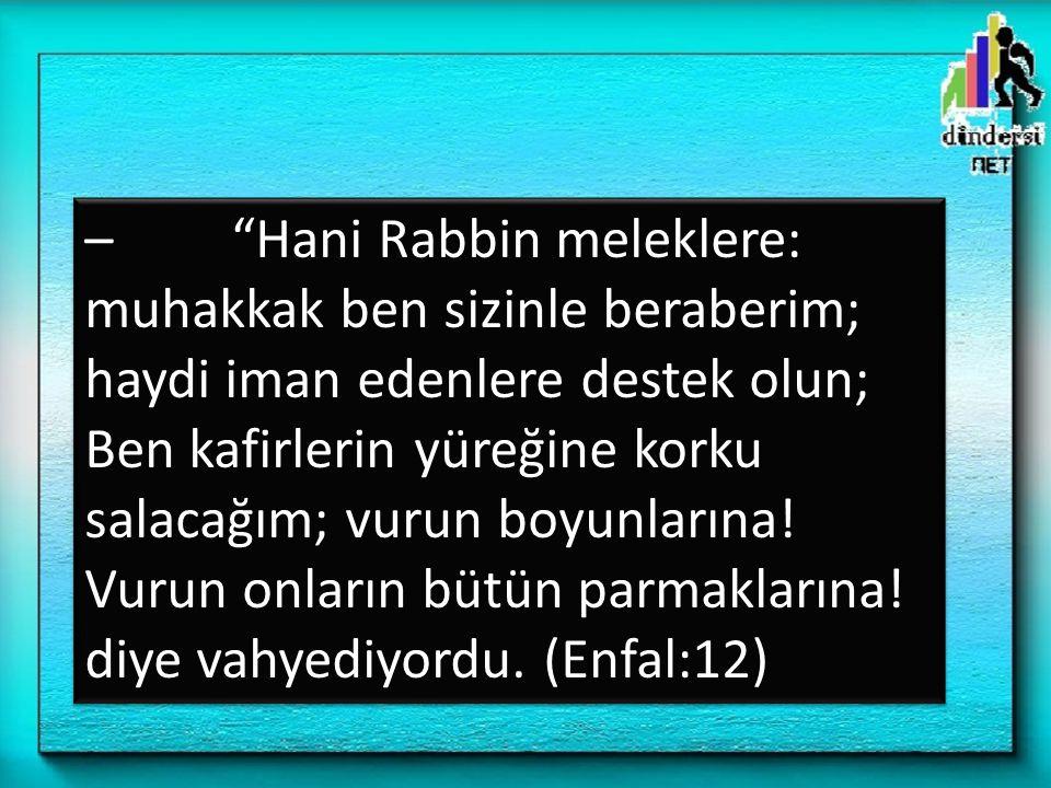 """– """"Hani Rabbin meleklere: muhakkak ben sizinle beraberim; haydi iman edenlere destek olun; Ben kafirlerin yüreğine korku salacağım; vurun boyunlarına!"""