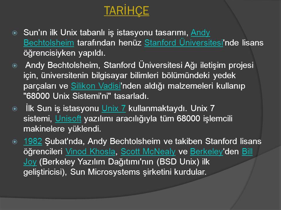 TARİHÇE  Sun'ın ilk Unix tabanlı iş istasyonu tasarımı, Andy Bechtolsheim tarafından henüz Stanford Üniversitesi'nde lisans öğrencisiyken yapıldı.And