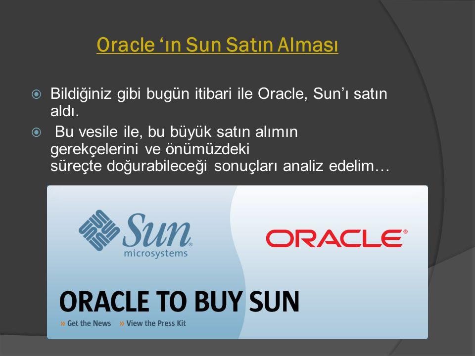 Oracle 'ın Sun Satın Alması  Bildiğiniz gibi bugün itibari ile Oracle, Sun'ı satın aldı.  Bu vesile ile, bu büyük satın alımın gerekçelerini ve önüm