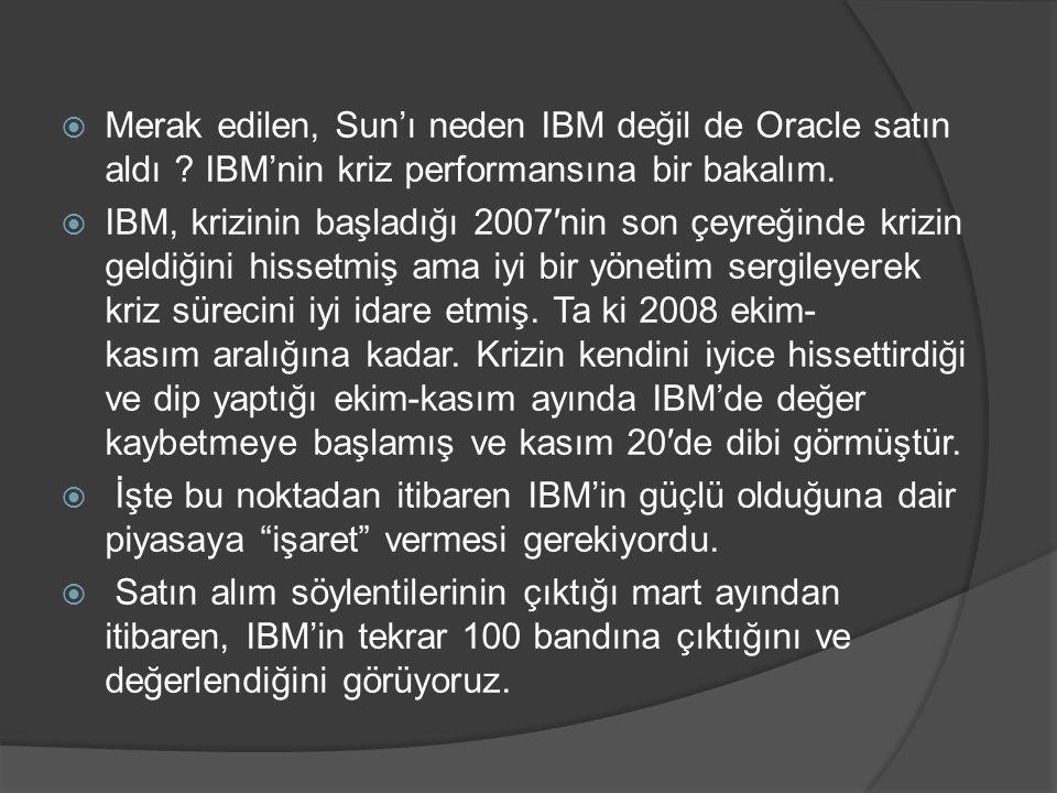  Merak edilen, Sun'ı neden IBM değil de Oracle satın aldı ? IBM'nin kriz performansına bir bakalım.  IBM, krizinin başladığı 2007′nin son çeyreğinde