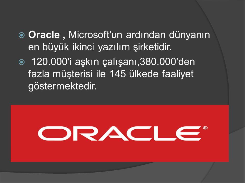  Oracle, Microsoft'un ardından dünyanın en büyük ikinci yazılım şirketidir.  120.000'i aşkın çalışanı,380.000'den fazla müşterisi ile 145 ülkede faa