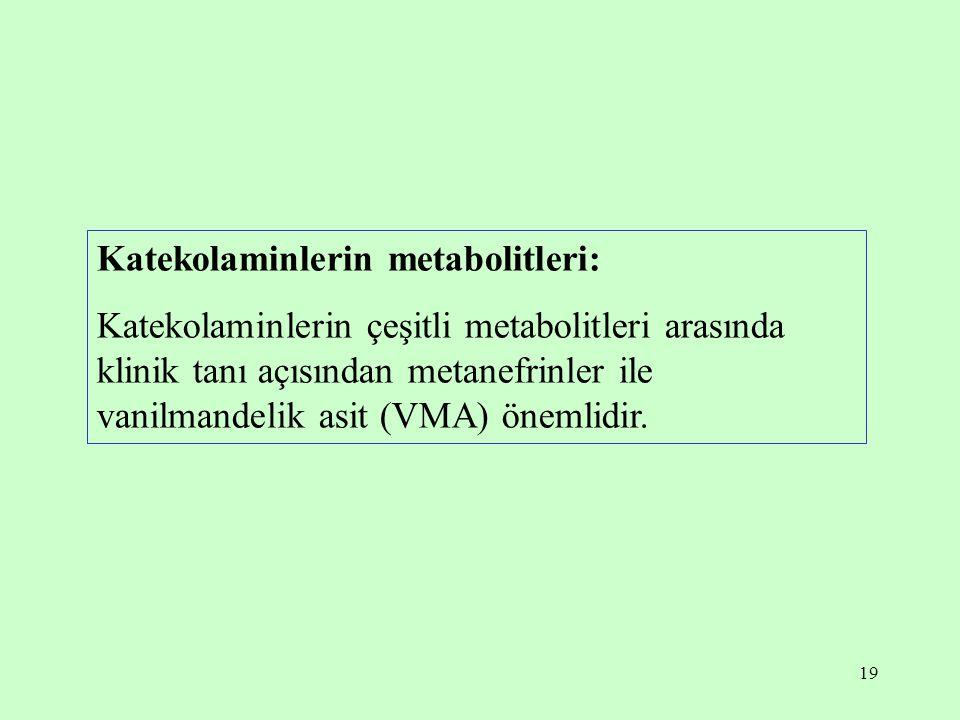19 Katekolaminlerin metabolitleri: Katekolaminlerin çeşitli metabolitleri arasında klinik tanı açısından metanefrinler ile vanilmandelik asit (VMA) ön