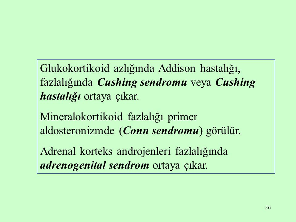 26 Glukokortikoid azlığında Addison hastalığı, fazlalığında Cushing sendromu veya Cushing hastalığı ortaya çıkar. Mineralokortikoid fazlalığı primer a