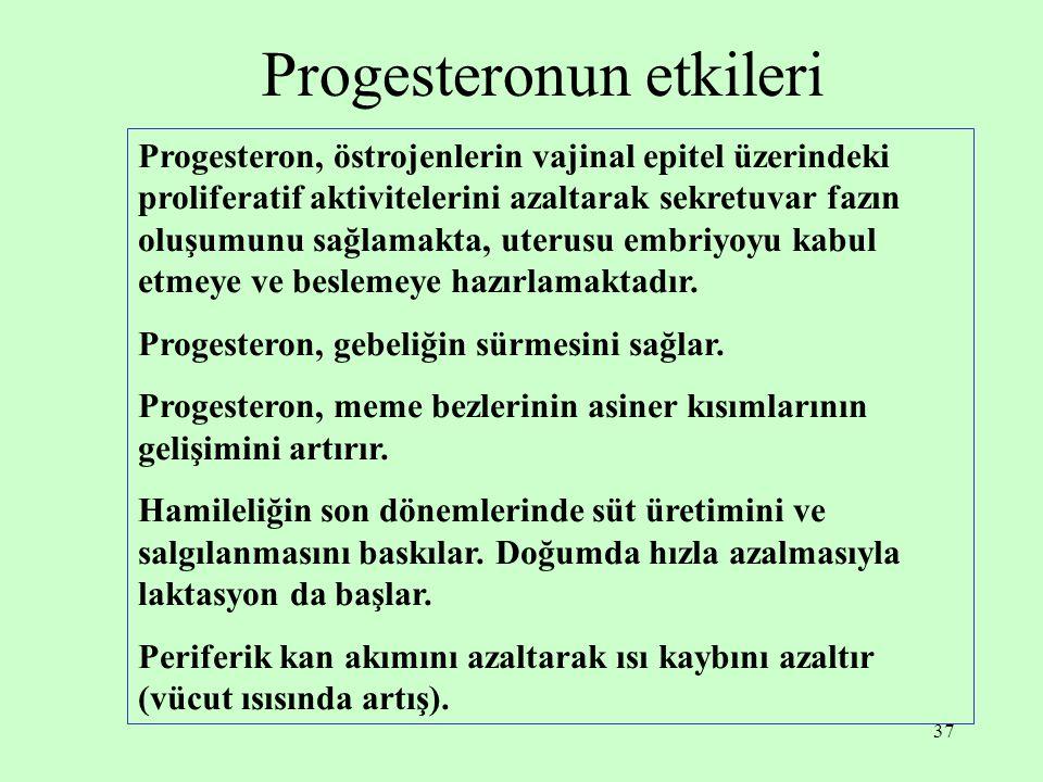 37 Progesteronun etkileri Progesteron, östrojenlerin vajinal epitel üzerindeki proliferatif aktivitelerini azaltarak sekretuvar fazın oluşumunu sağlam