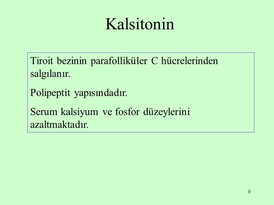 9 Kalsitonin Tiroit bezinin parafolliküler C hücrelerinden salgılanır. Polipeptit yapısındadır. Serum kalsiyum ve fosfor düzeylerini azaltmaktadır.