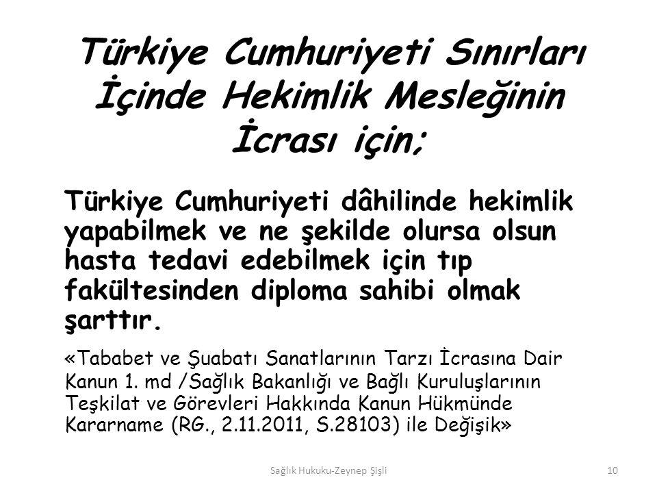 Türkiye Cumhuriyeti Sınırları İçinde Hekimlik Mesleğinin İcrası için; Türkiye Cumhuriyeti dâhilinde hekimlik yapabilmek ve ne şekilde olursa olsun hasta tedavi edebilmek için tıp fakültesinden diploma sahibi olmak şarttır.