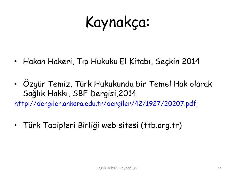 Kaynakça: Hakan Hakeri, Tıp Hukuku El Kitabı, Seçkin 2014 Özgür Temiz, Türk Hukukunda bir Temel Hak olarak Sağlık Hakkı, SBF Dergisi,2014 http://dergiler.ankara.edu.tr/dergiler/42/1927/20207.pdf Türk Tabipleri Birliği web sitesi (ttb.org.tr) Sağlık Hukuku-Zeynep Şişli23