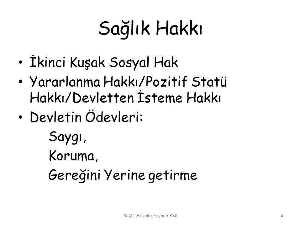 Sağlık Kurum ve Kuruluşları Sağlık Bakanlığı Tabip Odaları ve Türk Tabipleri Birliği, Yüksek Sağlık Şûrası, Adli Tıp Kurumu, Kamu kurum ve kuruluşlarına ait sağlık kuruluşları, Özel hastaneler ve ayakta teşhis ve tedavi verilen özel sağlık kuruluşları Sağlık Hukuku-Zeynep Şişli15