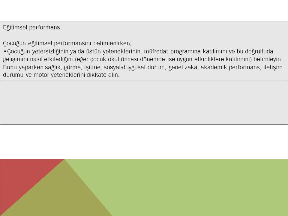 Eğitimsel performans Çocuğun eğitimsel performansını betimlenirken; Çocuğun yetersizliğinin ya da üstün yeteneklerinin, müfredat programına katılımını