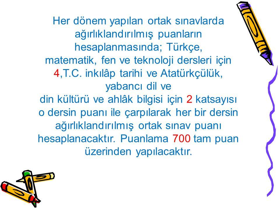 Her dönem yapılan ortak sınavlarda ağırlıklandırılmış puanların hesaplanmasında; Türkçe, matematik, fen ve teknoloji dersleri için 4,T.C.