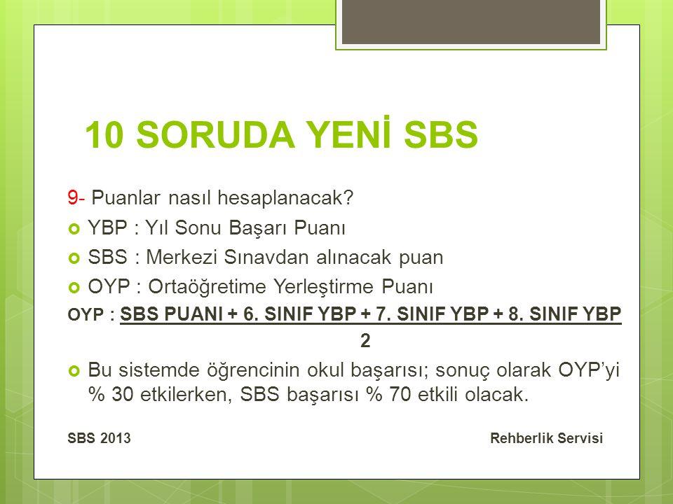 10 SORUDA YENİ SBS 9- Puanlar nasıl hesaplanacak.