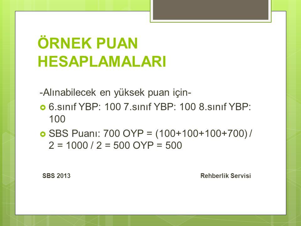 ÖRNEK PUAN HESAPLAMALARI -Alınabilecek en yüksek puan için-  6.sınıf YBP: 100 7.sınıf YBP: 100 8.sınıf YBP: 100  SBS Puanı: 700 OYP = (100+100+100+700) / 2 = 1000 / 2 = 500 OYP = 500 SBS 2013 Rehberlik Servisi
