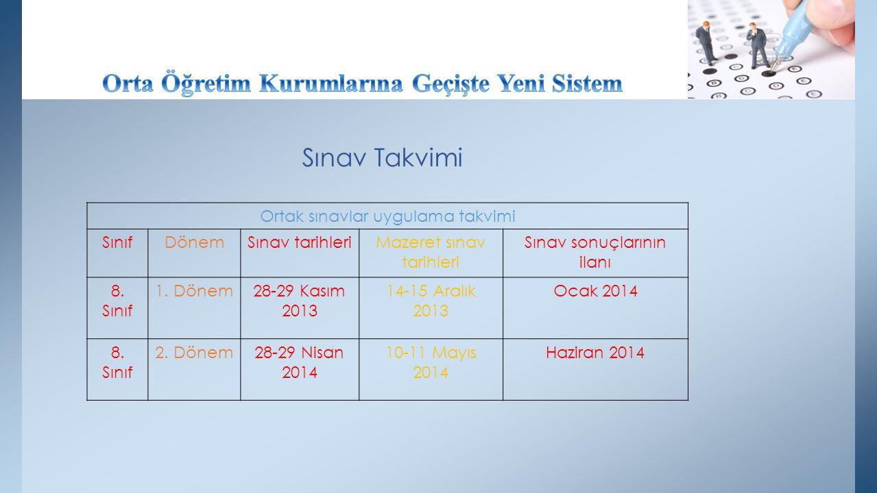 Sınav Takvimi Ortak sınavlar uygulama takvimi SınıfDönemSınav tarihleriMazeret sınav tarihleri Sınav sonuçlarının ilanı 8. Sınıf 1. Dönem28-29 Kasım 2