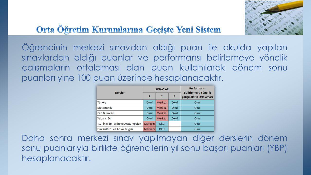 Öğrencinin merkezi sınavdan aldığı puan ile okulda yapılan sınavlardan aldığı puanlar ve performansı belirlemeye yönelik çalışmaların ortalaması olan puan kullanılarak dönem sonu puanları yine 100 puan üzerinde hesaplanacaktır.
