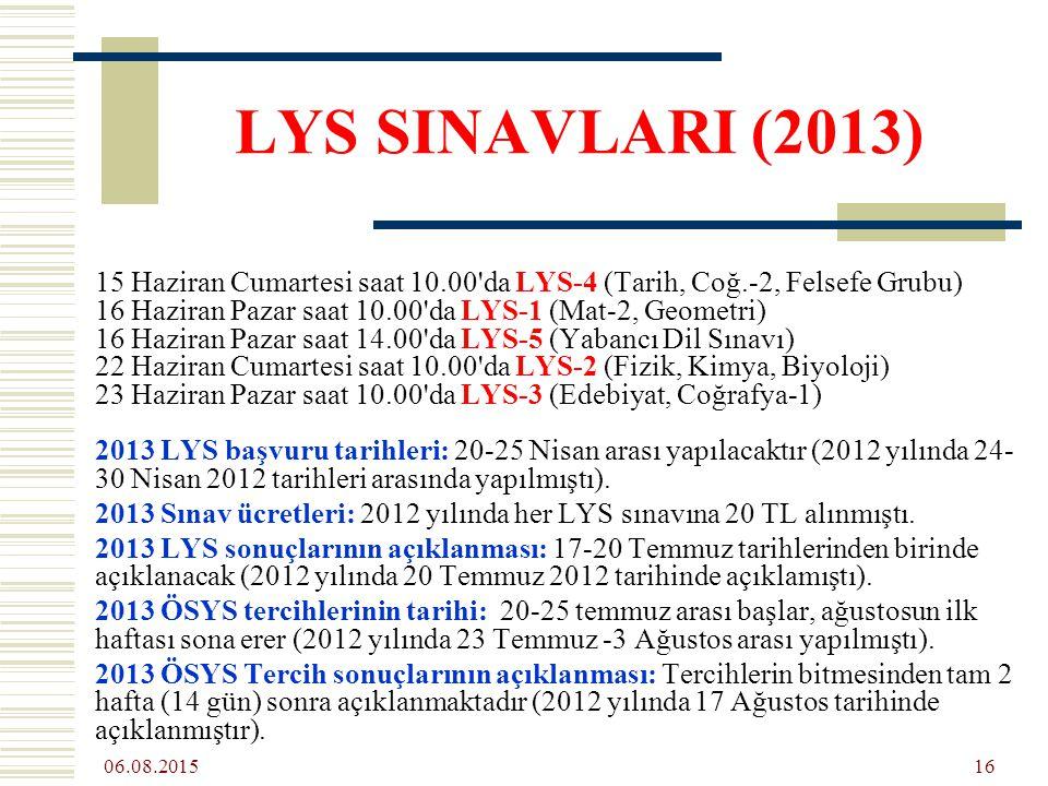 06.08.2015 16 LYS SINAVLARI (2013) 15 Haziran Cumartesi saat 10.00 da LYS-4 (Tarih, Coğ.-2, Felsefe Grubu) 16 Haziran Pazar saat 10.00 da LYS-1 (Mat-2, Geometri) 16 Haziran Pazar saat 14.00 da LYS-5 (Yabancı Dil Sınavı) 22 Haziran Cumartesi saat 10.00 da LYS-2 (Fizik, Kimya, Biyoloji) 23 Haziran Pazar saat 10.00 da LYS-3 (Edebiyat, Coğrafya-1) 2013 LYS başvuru tarihleri: 20-25 Nisan arası yapılacaktır (2012 yılında 24- 30 Nisan 2012 tarihleri arasında yapılmıştı).