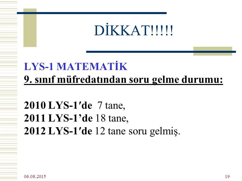 06.08.2015 19 DİKKAT!!!!. LYS-1 MATEMATİK 9.