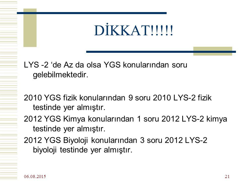 06.08.2015 21 DİKKAT!!!!. LYS -2 'de Az da olsa YGS konularından soru gelebilmektedir.