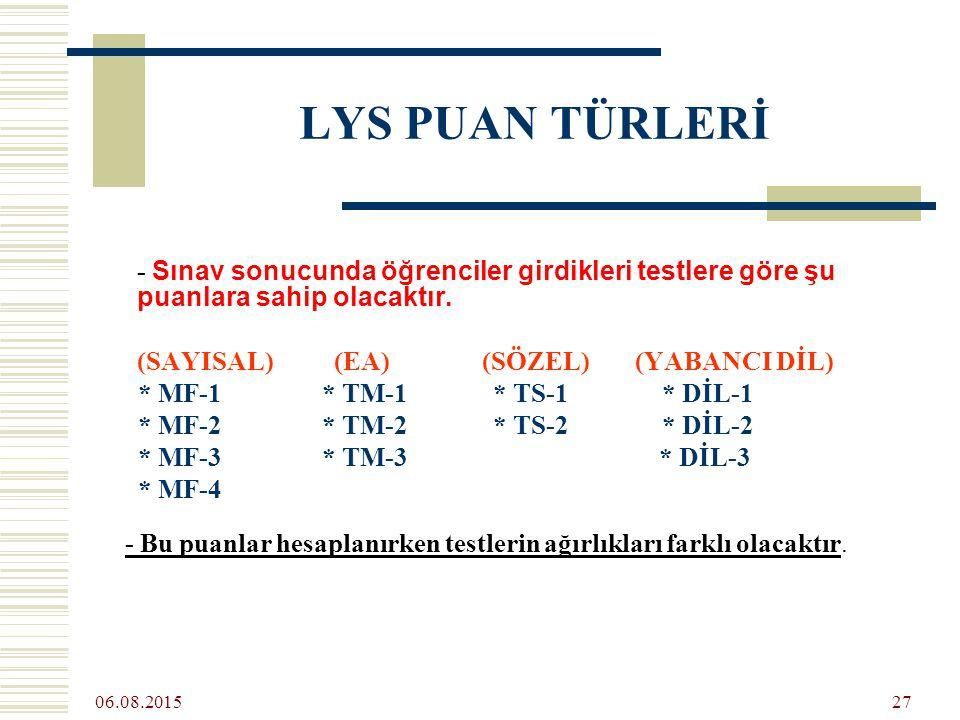 06.08.2015 27 LYS PUAN TÜRLERİ - Sınav sonucunda öğrenciler girdikleri testlere göre şu puanlara sahip olacaktır.