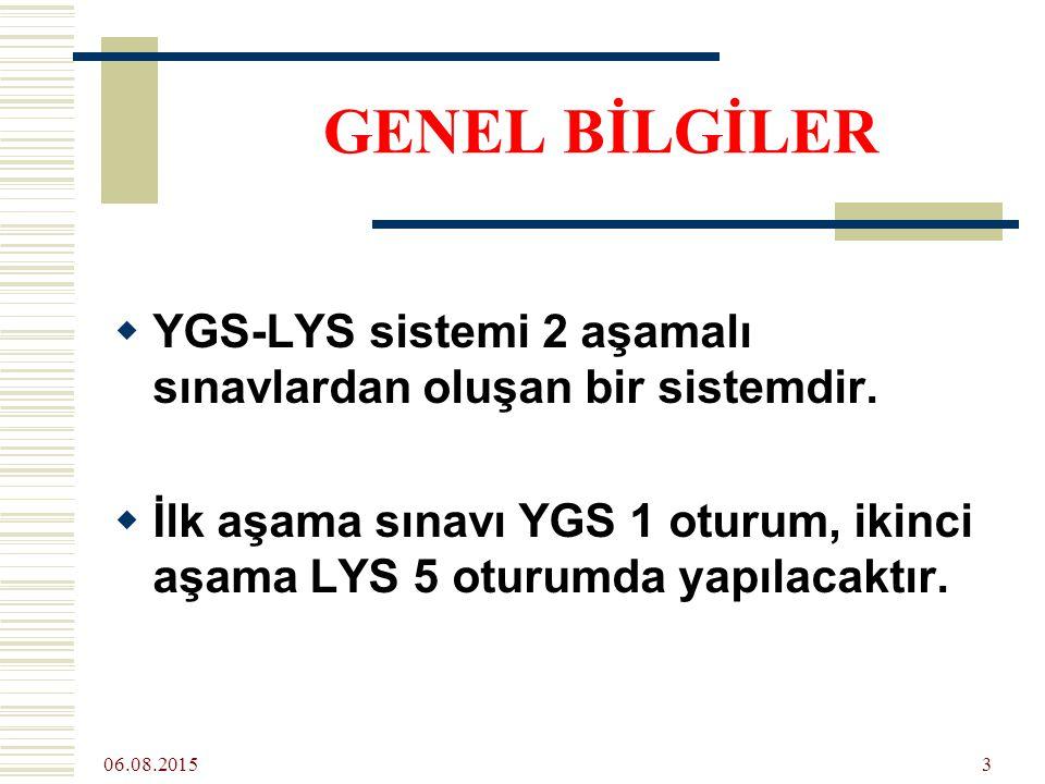 06.08.2015 3  YGS-LYS sistemi 2 aşamalı sınavlardan oluşan bir sistemdir.