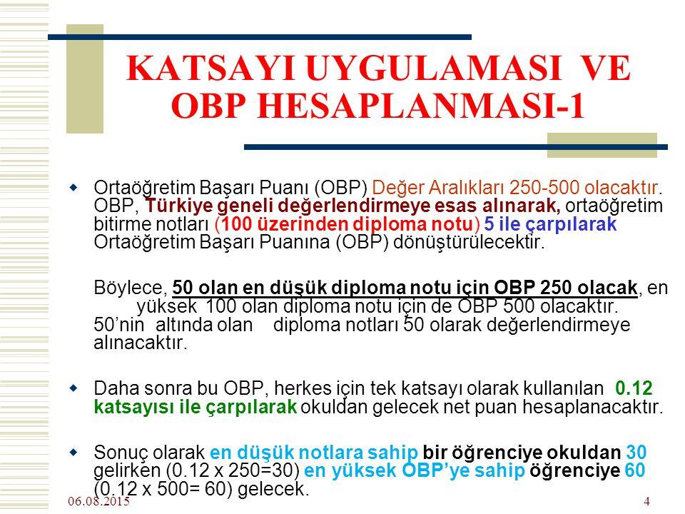 06.08.2015 4 KATSAYI UYGULAMASI VE OBP HESAPLANMASI-1  Ortaöğretim Başarı Puanı (OBP) Değer Aralıkları 250-500 olacaktır.
