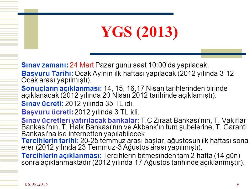 06.08.2015 9 YGS (2013) Sınav zamanı: 24 Mart Pazar günü saat 10:00'da yapılacak.