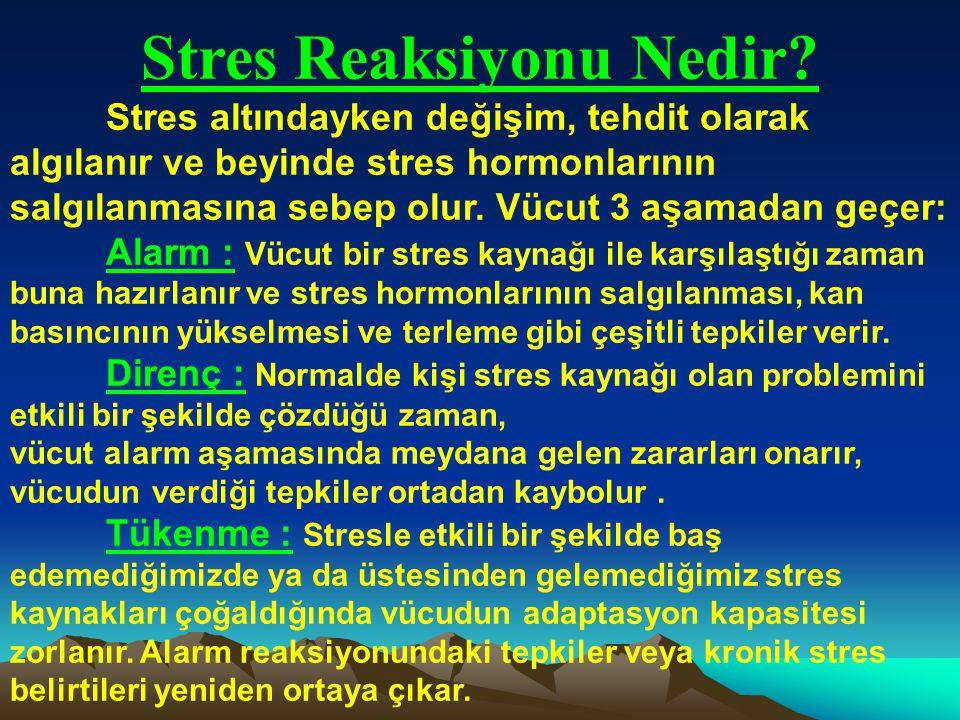 Stres Nedir? Stres, vücudun çeşitli içsel ve dışsal uyaranlara verdiği otomatik tepkidir. Dışsal uyaranlar; okul değişikliği, yeni bir şehre taşınmak,