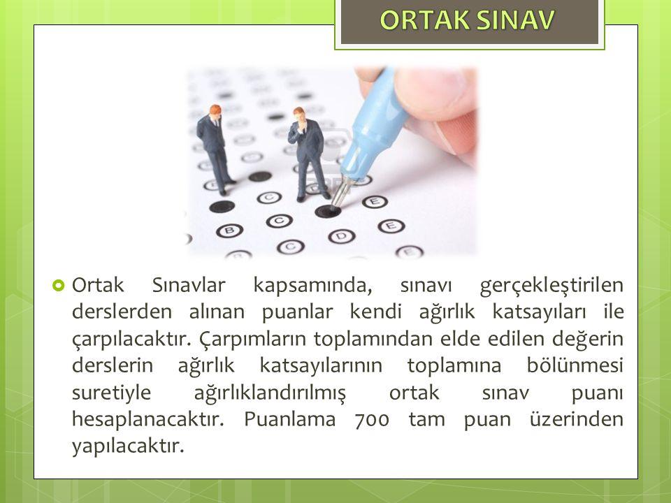  Ortak Sınavlar kapsamında, sınavı gerçekleştirilen derslerden alınan puanlar kendi ağırlık katsayıları ile çarpılacaktır.