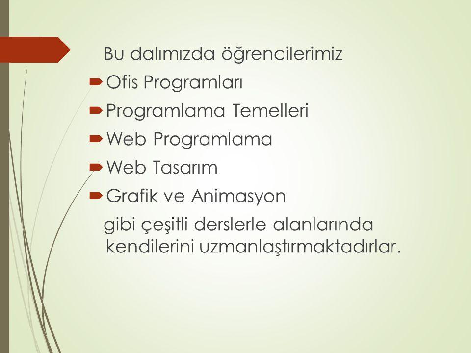 Bu dalımızda öğrencilerimiz  Ofis Programları  Programlama Temelleri  Web Programlama  Web Tasarım  Grafik ve Animasyon gibi çeşitli derslerle al