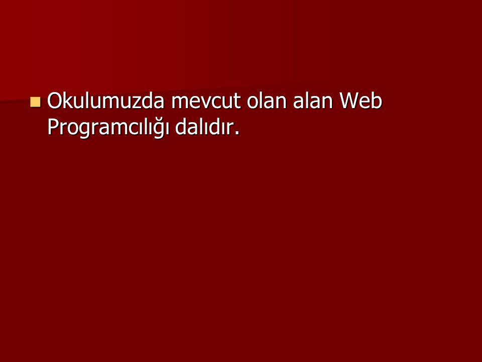 Okulumuzda mevcut olan alan Web Programcılığı dalıdır. Okulumuzda mevcut olan alan Web Programcılığı dalıdır.