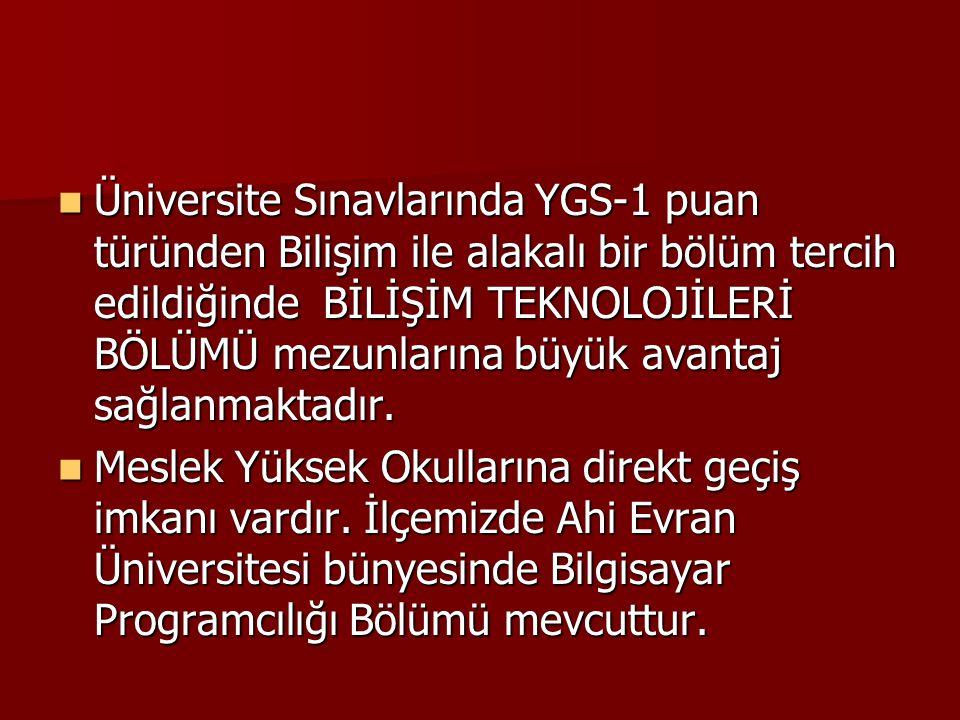 Üniversite Sınavlarında YGS-1 puan türünden Bilişim ile alakalı bir bölüm tercih edildiğinde BİLİŞİM TEKNOLOJİLERİ BÖLÜMÜ mezunlarına büyük avantaj sa