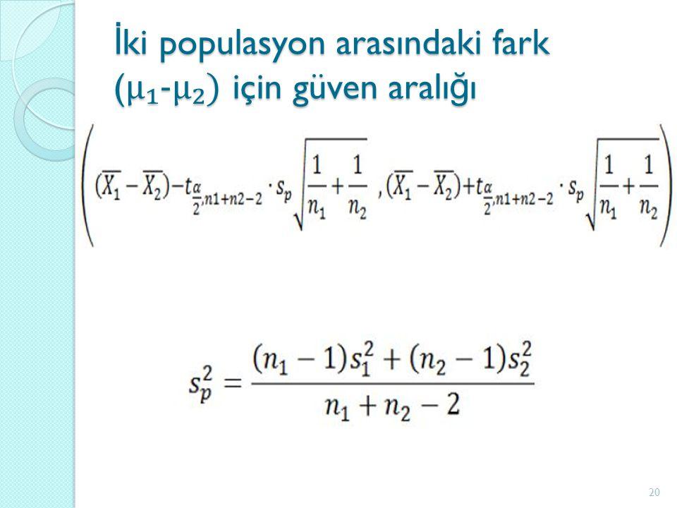 İ ki populasyon arasındaki fark ( μ₁-μ₂) için güven aralı ğ ı 20