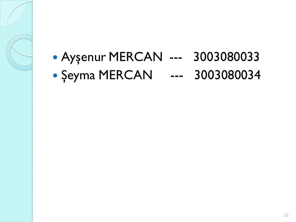 Ayşenur MERCAN --- 3003080033 Şeyma MERCAN --- 3003080034 26
