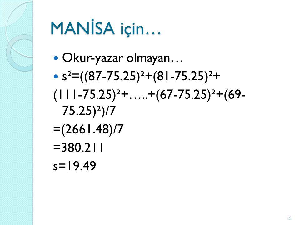 MAN İ SA için… Okur-yazar olmayan… s²=((87-75.25)²+(81-75.25)²+ (111-75.25)²+…..+(67-75.25)²+(69- 75.25)²)/7 =(2661.48)/7 =380.211 s=19.49 6