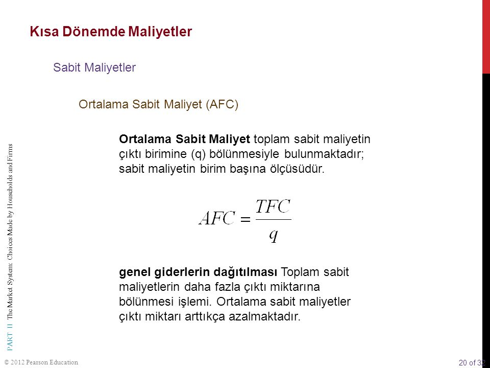 20 of 32 PART II The Market System: Choices Made by Households and Firms © 2012 Pearson Education Ortalama Sabit Maliyet toplam sabit maliyetin çıktı