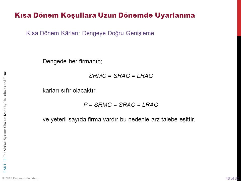 46 of 32 PART II The Market System: Choices Made by Households and Firms © 2012 Pearson Education Dengede her firmanın; SRMC = SRAC = LRAC karları sıf