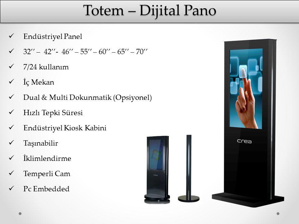 Totem – Dijital Pano Endüstriyel Panel 32'' – 42''- 46'' – 55'' – 60'' – 65'' – 70'' 7/24 kullanım İç Mekan Dual & Multi Dokunmatik (Opsiyonel) Hızlı