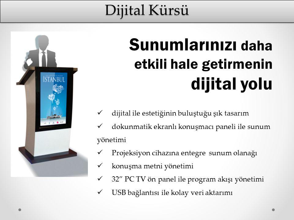 Dijital Kürsü dijital ile estetiğinin buluştuğu şık tasarım dokunmatik ekranlı konuşmacı paneli ile sunum yönetimi Projeksiyon cihazına entegre sunum