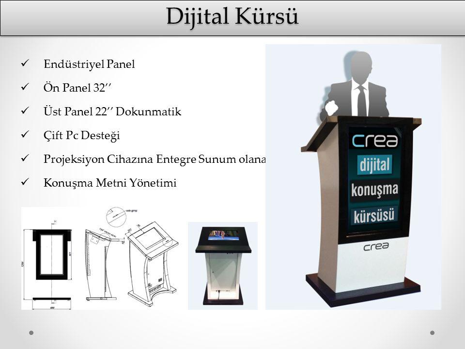 Dijital Kürsü Endüstriyel Panel Ön Panel 32'' Üst Panel 22'' Dokunmatik Çift Pc Desteği Projeksiyon Cihazına Entegre Sunum olanağı Konuşma Metni Yönet