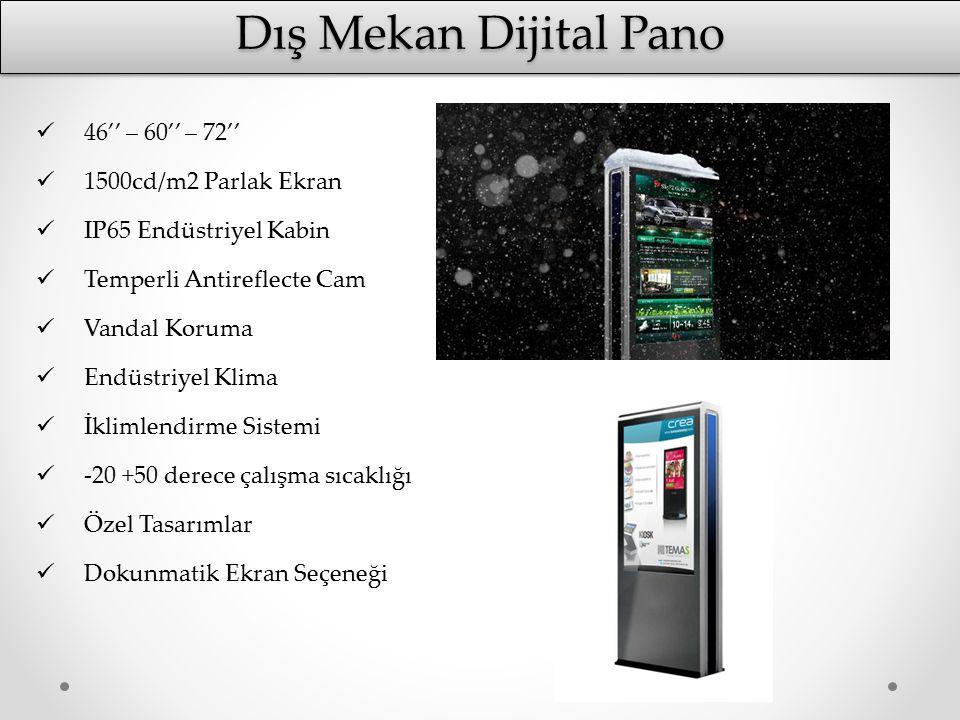 Dış Mekan Dijital Pano 46'' – 60'' – 72'' 1500cd/m2 Parlak Ekran IP65 Endüstriyel Kabin Temperli Antireflecte Cam Vandal Koruma Endüstriyel Klima İkli