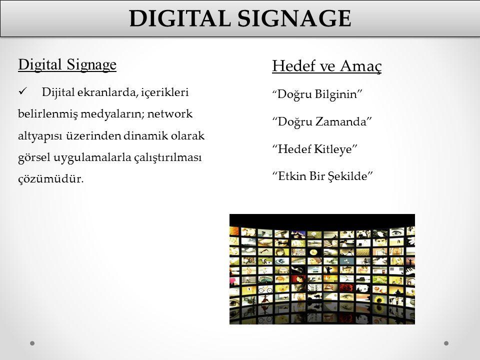 Digital Signage Dijital ekranlarda, içerikleri belirlenmiş medyaların; network altyapısı üzerinden dinamik olarak görsel uygulamalarla çalıştırılması
