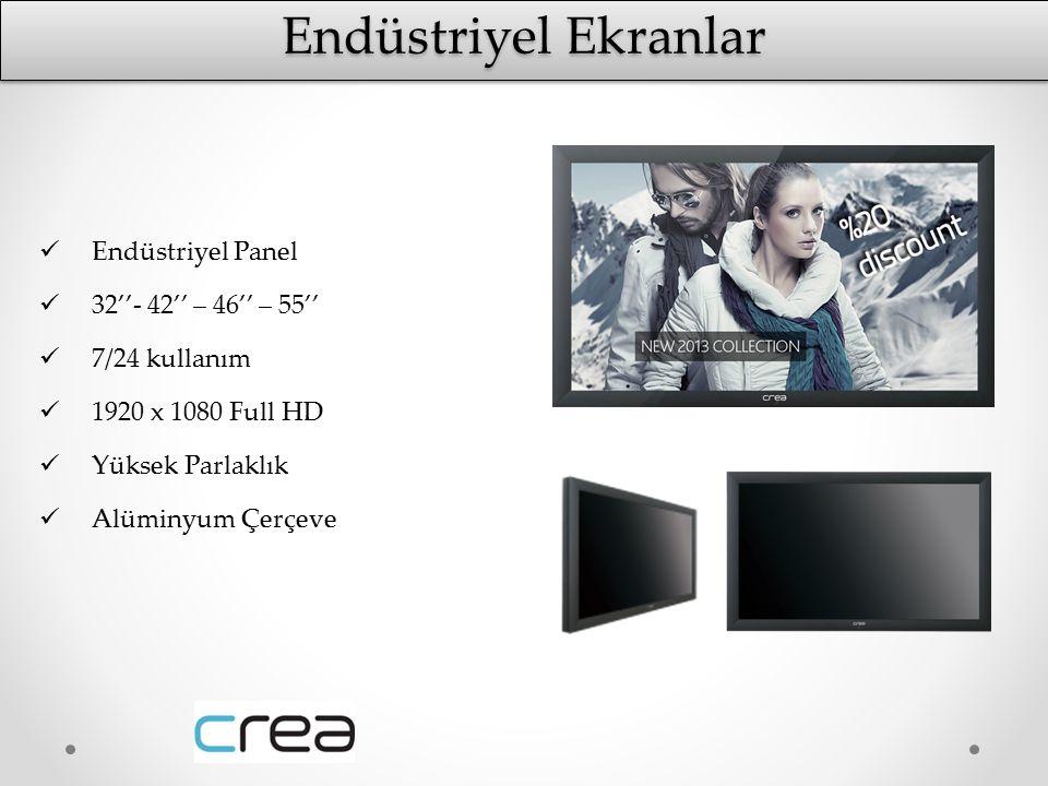 Endüstriyel Panel 32''- 42'' – 46'' – 55'' 7/24 kullanım 1920 x 1080 Full HD Yüksek Parlaklık Alüminyum Çerçeve Endüstriyel Ekranlar