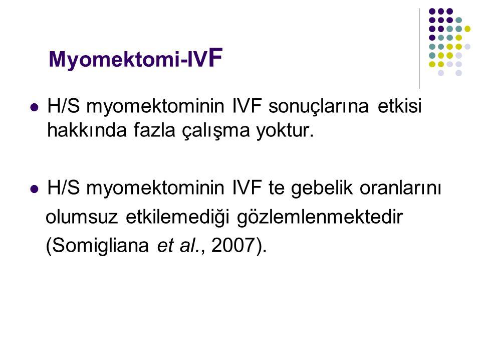 Myomektomi-IV F H/S myomektominin IVF sonuçlarına etkisi hakkında fazla çalışma yoktur.