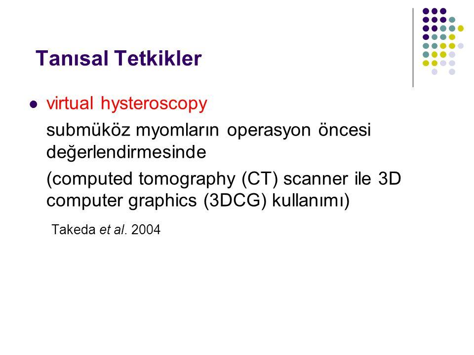 Tanısal Tetkikler virtual hysteroscopy submüköz myomların operasyon öncesi değerlendirmesinde (computed tomography (CT) scanner ile 3D computer graphics (3DCG) kullanımı) Takeda et al.