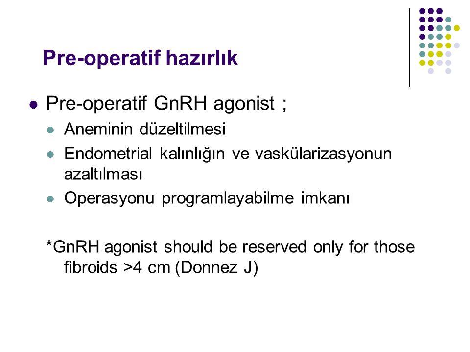 Pre-operatif hazırlık Pre-operatif GnRH agonist ; Aneminin düzeltilmesi Endometrial kalınlığın ve vaskülarizasyonun azaltılması Operasyonu programlayabilme imkanı *GnRH agonist should be reserved only for those fibroids >4 cm (Donnez J)