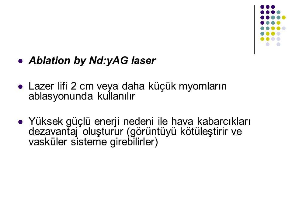 Ablation by Nd:yAG laser Lazer lifi 2 cm veya daha küçük myomların ablasyonunda kullanılır Yüksek güçlü enerji nedeni ile hava kabarcıkları dezavantaj oluşturur (görüntüyü kötüleştirir ve vasküler sisteme girebilirler)