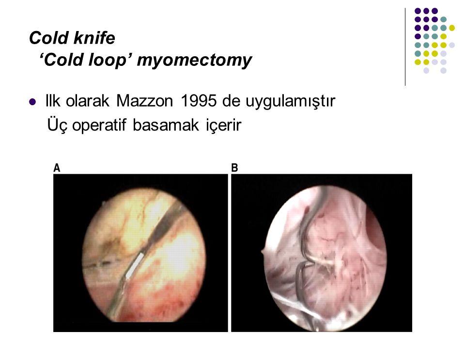 Cold knife 'Cold loop' myomectomy llk olarak Mazzon 1995 de uygulamıştır Üç operatif basamak içerir