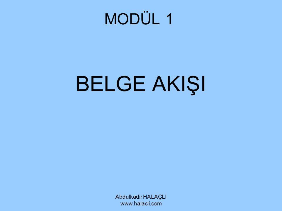 Abdulkadir HALAÇLI www.halacli.com GİDEN BELGELER Belge Sınıflandırma Kuruluşlar, genellikle gelen ve giden belgelerin teslim edildiği ve ilgili işlemlerin yapıldığı ayrı bölüm oluştururlar.
