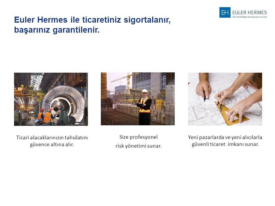 Euler Hermes ile ticaretiniz sigortalanır, başarınız garantilenir. Yeni pazarlarda ve yeni alıcılarla güvenli ticaret imkanı sunar. Size profesyonel r